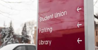 signage on campus